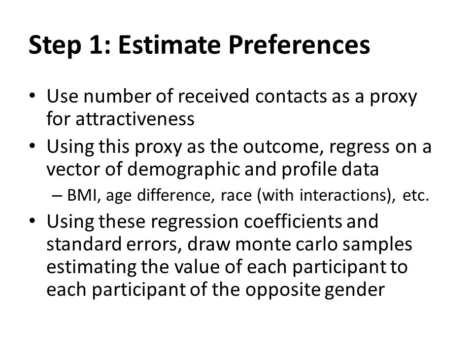 Step 1: Estimate Preferences Use number of received contacts as a proxy for attractiveness Using this proxy as the outcome, regress on a vector of dem