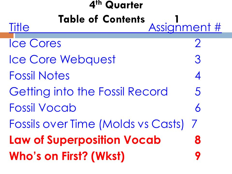 4 th Quarter Table of Contents 1 TitleAssignment # Ice Cores2 Ice Core Webquest3 Fossil Notes4 Getting into the Fossil Record 5 Fossil Vocab6 Fossils