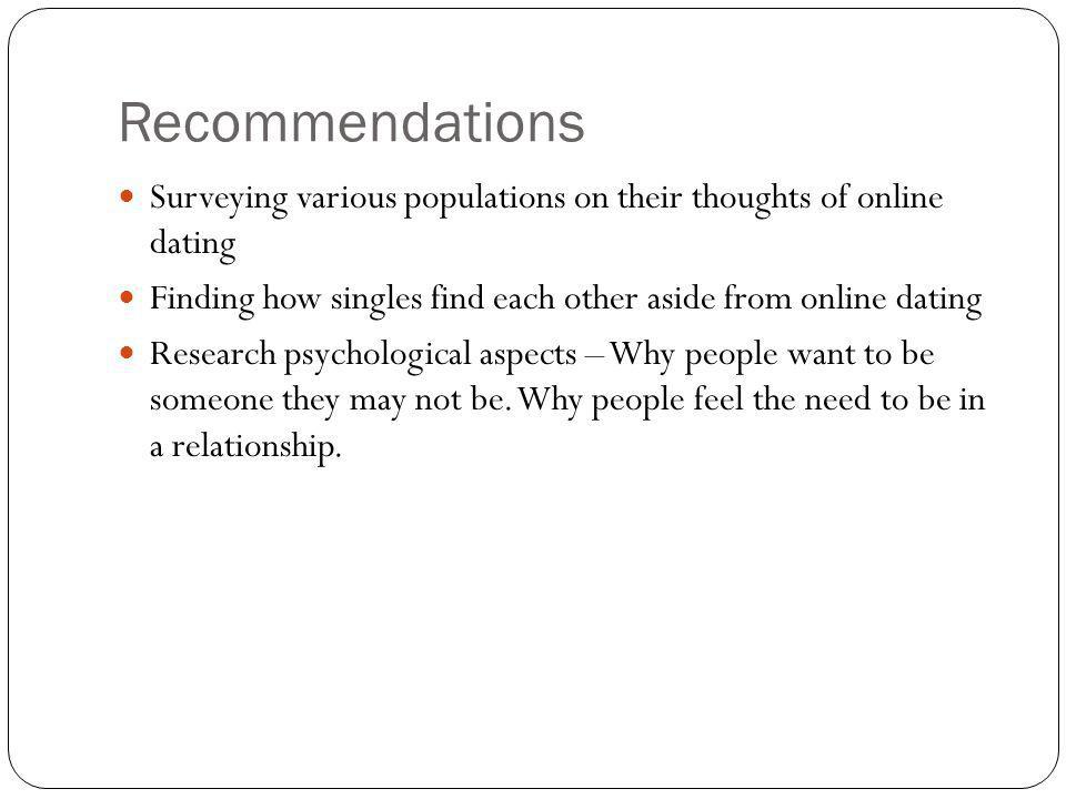 Recommendations Surveying various populations on their thoughts of online dating Finding how singles find each other aside from online dating Research