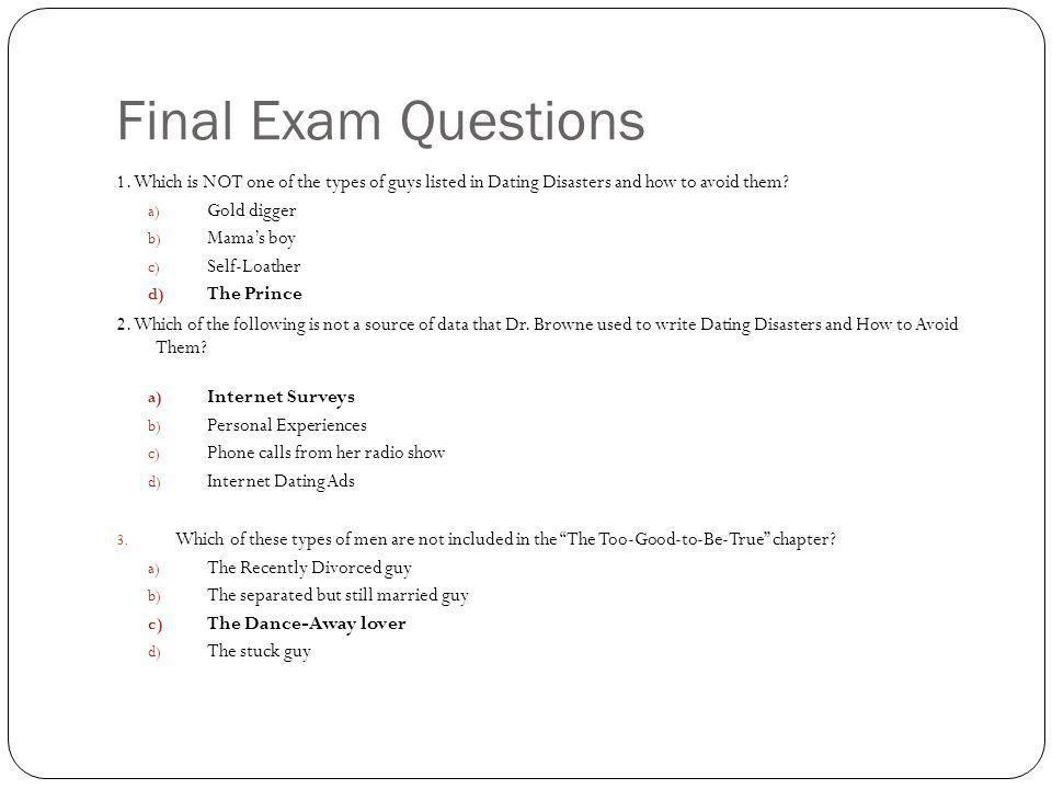 Final Exam Questions 1.