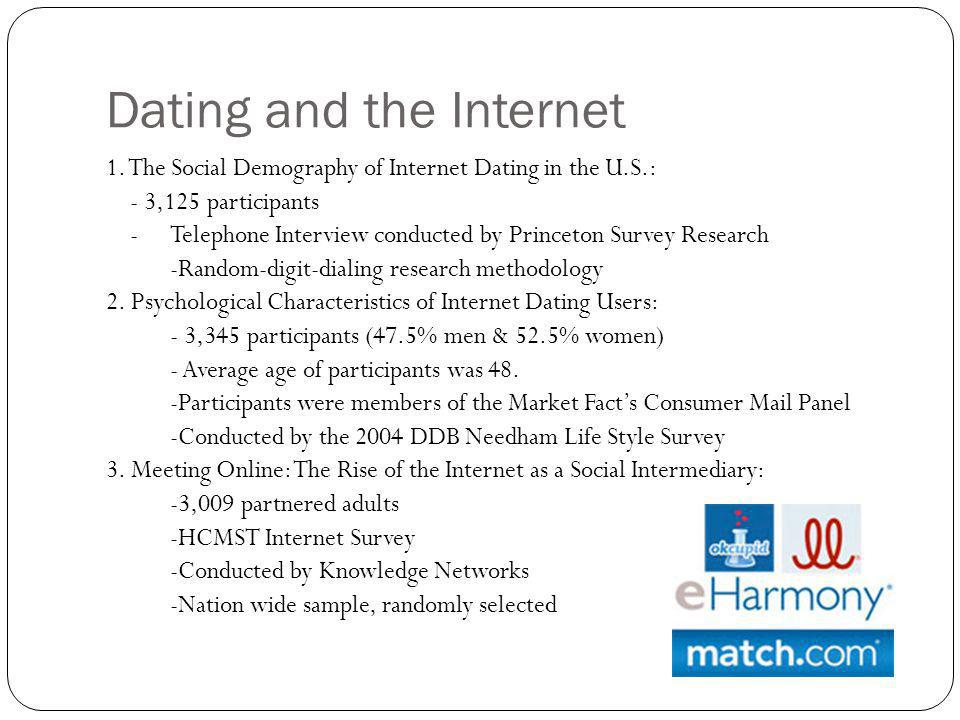 Dating and the Internet 1. The Social Demography of Internet Dating in the U.S.: - 3,125 participants -Telephone Interview conducted by Princeton Surv