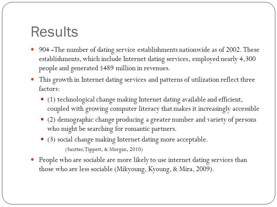 Results 904 -The number of dating service establishments nationwide as of 2002. These establishments, which include Internet dating services, employed