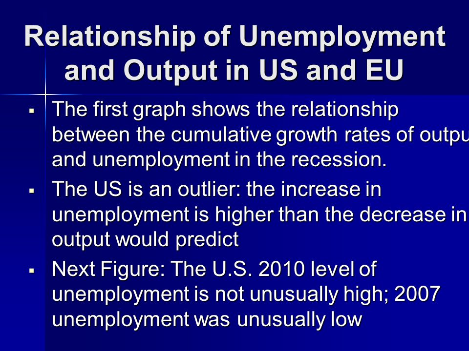 Relationship of Unemployment and Output in US and EU The first graph shows the relationship between the cumulative growth rates of output and unemployment in the recession.