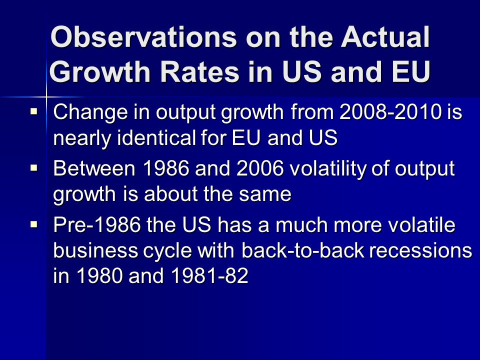 Observations on the Actual Growth Rates in US and EU Change in output growth from 2008-2010 is nearly identical for EU and US Change in output growth from 2008-2010 is nearly identical for EU and US Between 1986 and 2006 volatility of output growth is about the same Between 1986 and 2006 volatility of output growth is about the same Pre-1986 the US has a much more volatile business cycle with back-to-back recessions in 1980 and 1981-82 Pre-1986 the US has a much more volatile business cycle with back-to-back recessions in 1980 and 1981-82