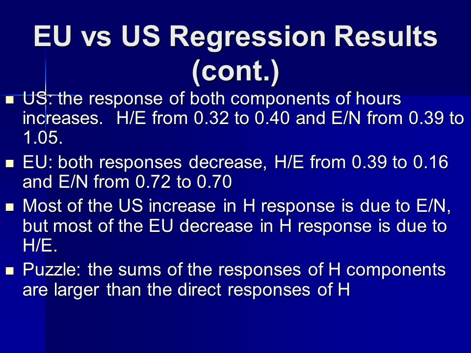 EU vs US Regression Results (cont.) US: the response of both components of hours increases.