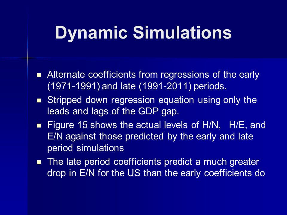 Dynamic Simulations Alternate coefficients from regressions of the early (1971-1991) and late (1991-2011) periods.