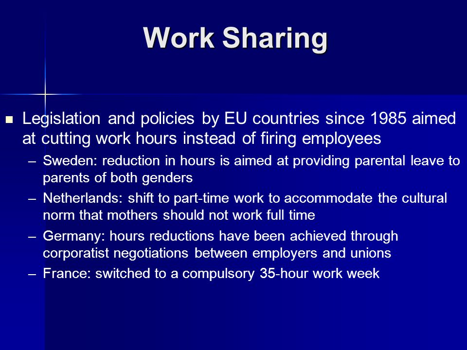 Legislation and policies by EU countries since 1985 aimed at cutting work hours instead of firing employees – –Sweden: reduction in hours is aimed at providing parental leave to parents of both genders – –Netherlands: shift to part-time work to accommodate the cultural norm that mothers should not work full time – –Germany: hours reductions have been achieved through corporatist negotiations between employers and unions – –France: switched to a compulsory 35-hour work week Work Sharing
