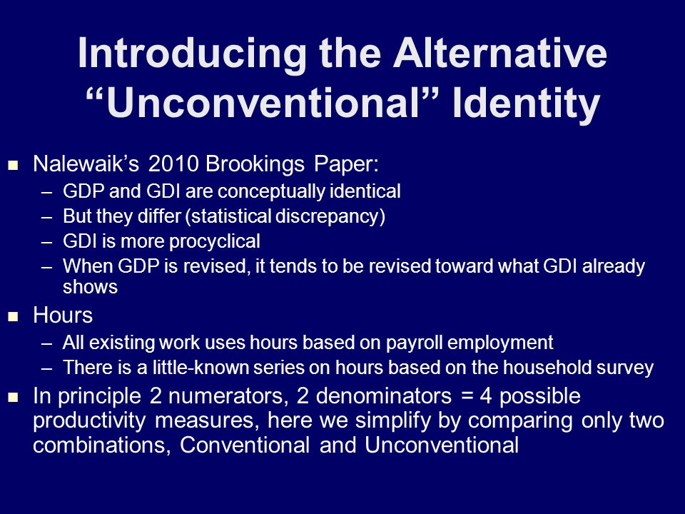 Unconventional Productivity: New Story for 1994-2007