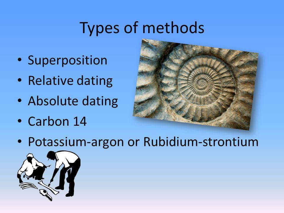 Types of methods Superposition Relative dating Absolute dating Carbon 14 Potassium-argon or Rubidium-strontium