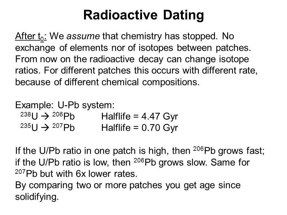 Radioactive Dating After t 0 : We assume that chemistry has stopped.