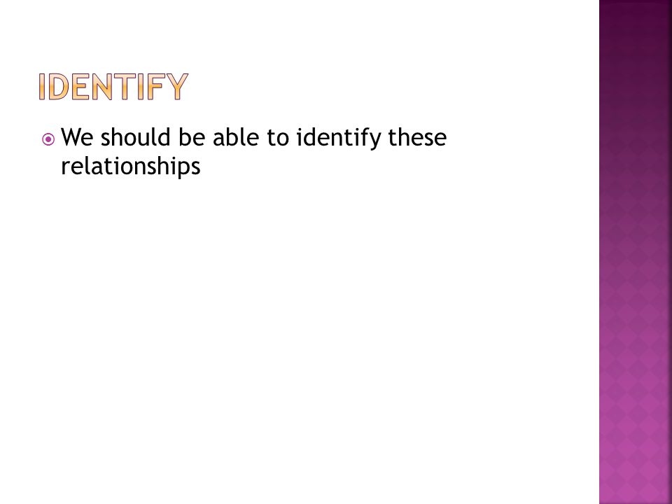 We should be able to identify these relationships