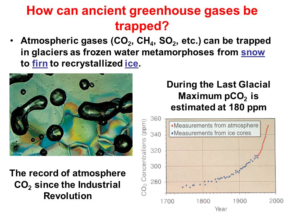 How can ancient greenhouse gases be trapped.