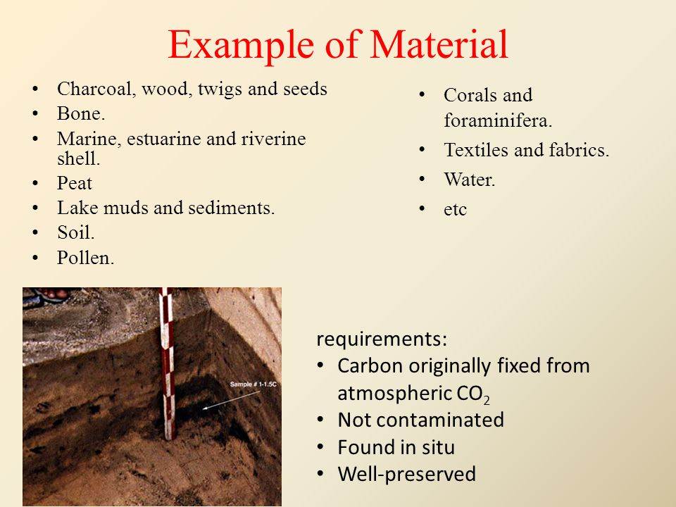 Example of Material Charcoal, wood, twigs and seeds Bone. Marine, estuarine and riverine shell. Peat Lake muds and sediments. Soil. Pollen. Corals and