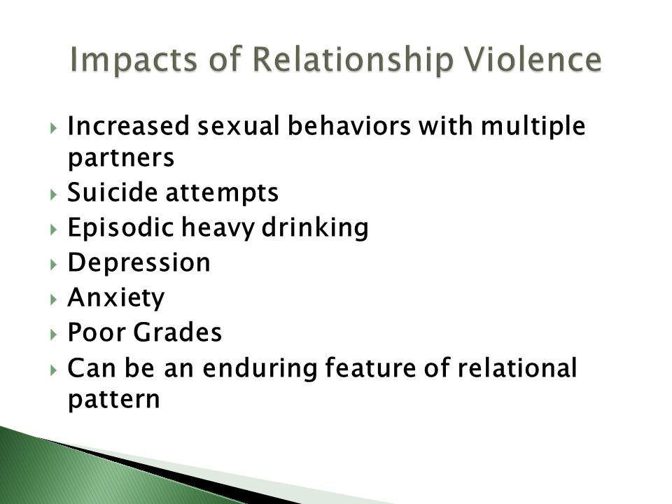 Increased sexual behaviors with multiple partners Suicide attempts Episodic heavy drinking Depression Anxiety Poor Grades Can be an enduring feature of relational pattern
