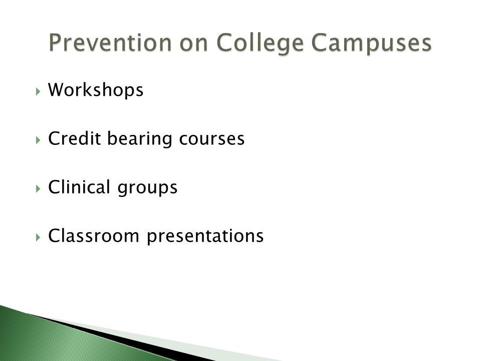 Workshops Credit bearing courses Clinical groups Classroom presentations