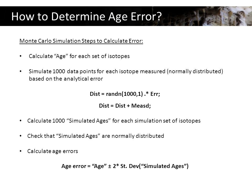 How to Determine Age Error.
