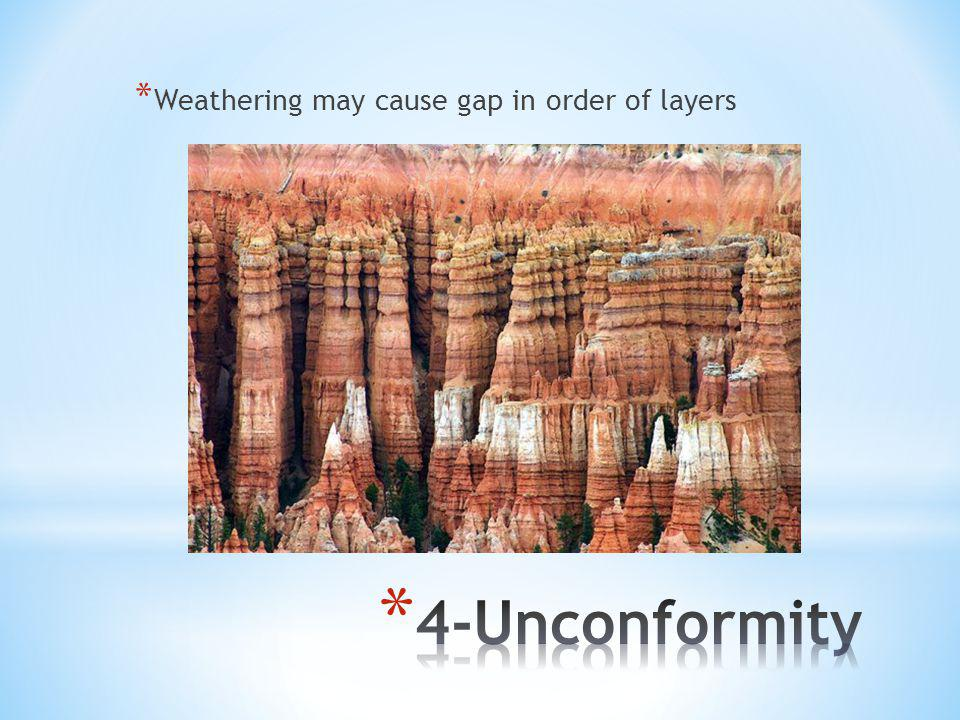 * Weathering may cause gap in order of layers