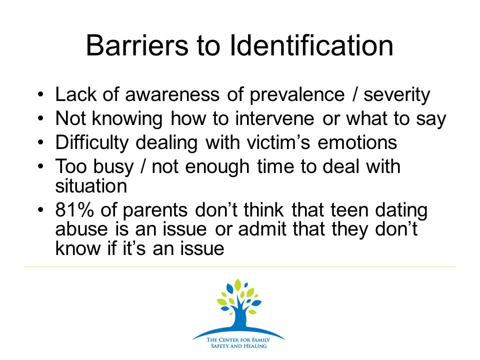 Barriers to Identification Lack of awareness of prevalence / severity Not knowing how to intervene or what to say Difficulty dealing with victims emot