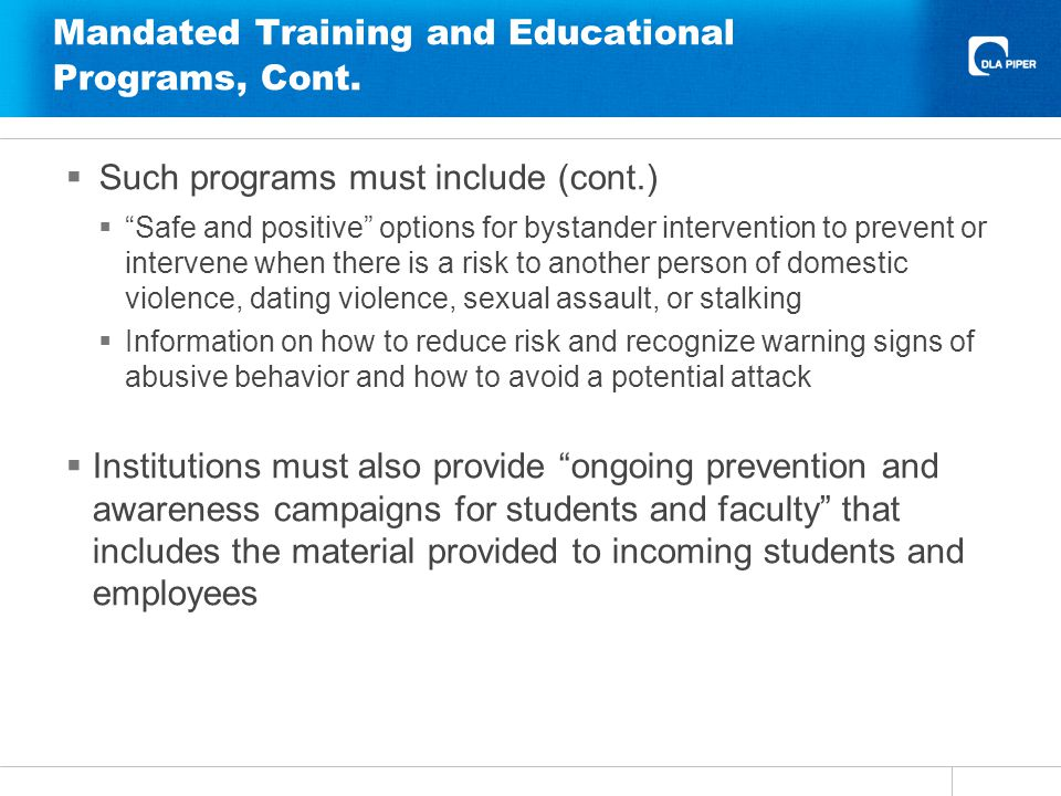Mandated Training and Educational Programs, Cont.