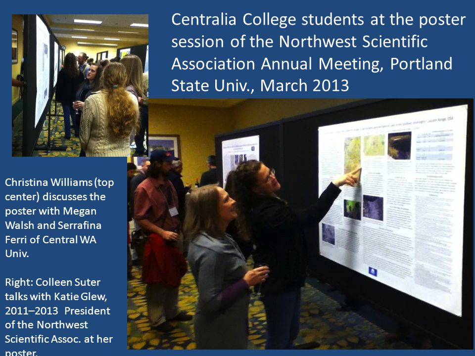 Centralia College students at the poster session of the Northwest Scientific Association Annual Meeting, Portland State Univ., March 2013 Christina Williams (top center) discusses the poster with Megan Walsh and Serrafina Ferri of Central WA Univ.