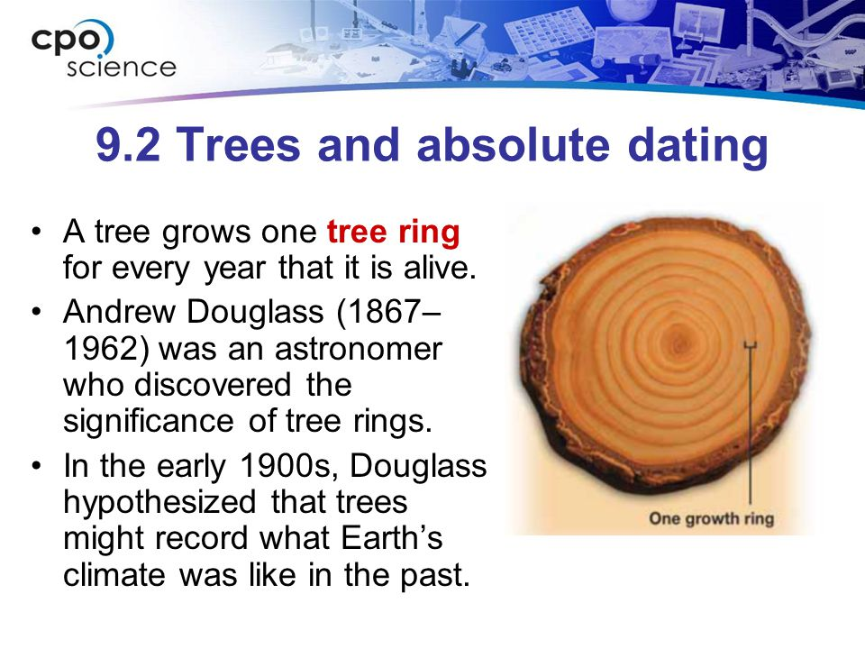 9.2 Trees and absolute dating A tree grows one tree ring for every year that it is alive. Andrew Douglass (1867– 1962) was an astronomer who discovere