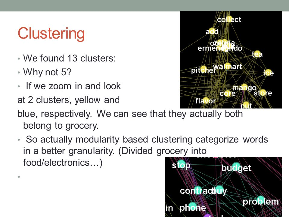 Clustering We found 13 clusters: Why not 5.