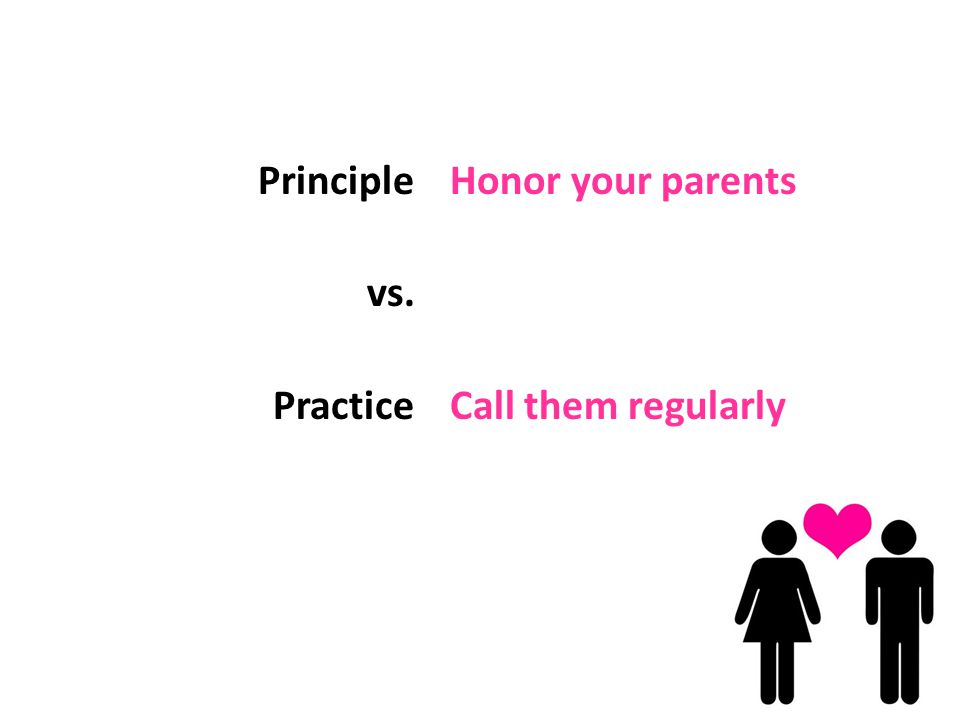 Principle vs. Practice Honor your parents Call them regularly