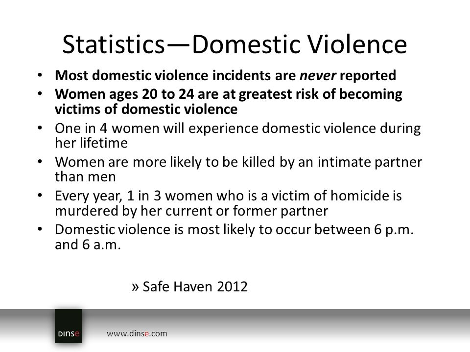 www.dinse.com StatisticsDomestic Violence Most domestic violence incidents are never reported Women ages 20 to 24 are at greatest risk of becoming victims of domestic violence One in 4 women will experience domestic violence during her lifetime Women are more likely to be killed by an intimate partner than men Every year, 1 in 3 women who is a victim of homicide is murdered by her current or former partner Domestic violence is most likely to occur between 6 p.m.