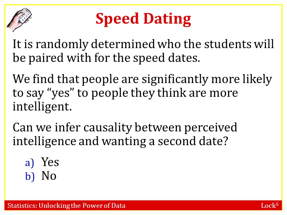 Statistics: Unlocking the Power of Data Lock 5 Speed Dating What is the population? Ideal population? More realistic population?