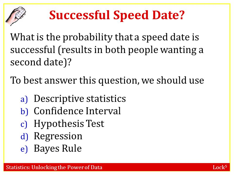 Statistics: Unlocking the Power of Data Lock 5 Speed Dating It is randomly determined who the students will be paired with for the speed dates. We fin