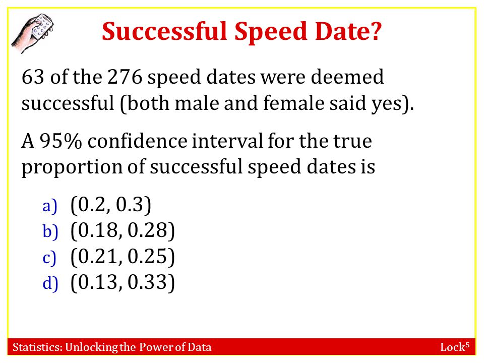 Statistics: Unlocking the Power of Data Lock 5 Successful Speed Date? What is the probability that a speed date is successful (results in both people