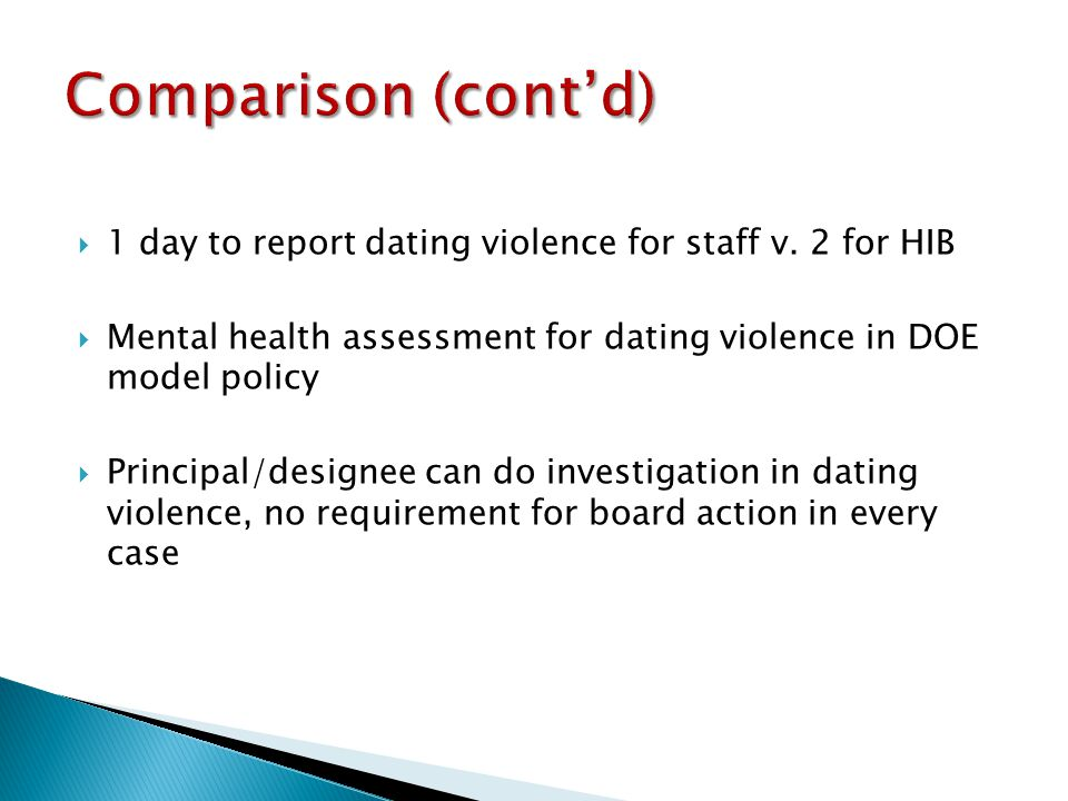 1 day to report dating violence for staff v.