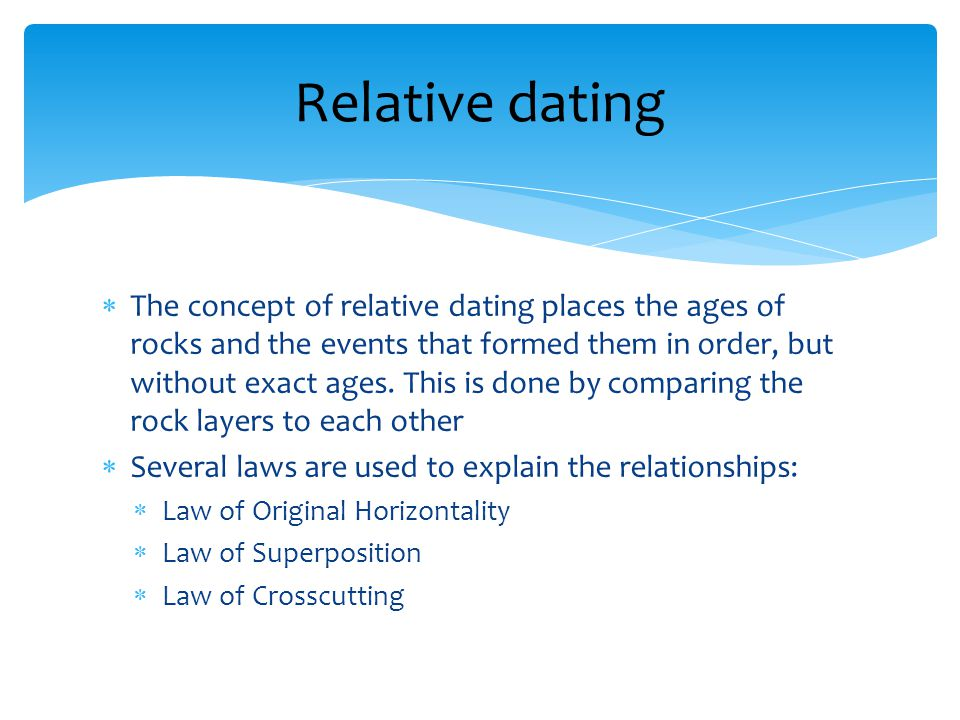The concept of relative dating places the ages of rocks and the events that formed them in order, but without exact ages.