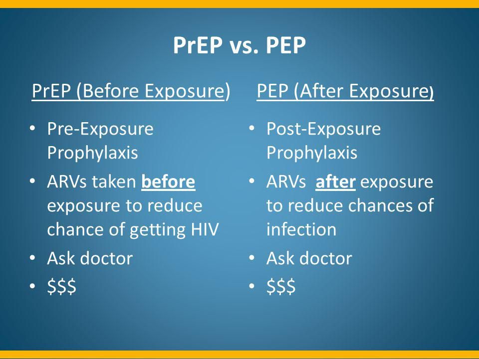 PrEP vs. PEP PrEP (Before Exposure) Pre-Exposure Prophylaxis ARVs taken before exposure to reduce chance of getting HIV Ask doctor $$$ PEP (After Expo
