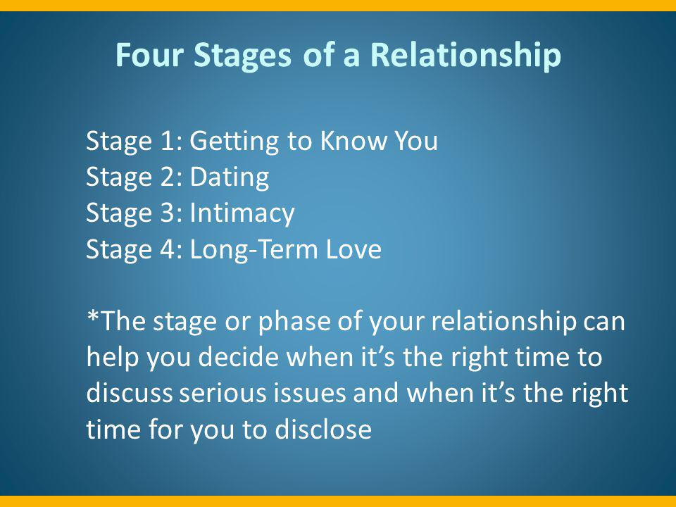 Stage 1- Getting to Know You Definition: Getting to know each other by spending time together, exploring mutual interests, crushing, curious, going out, flirting, holding hands, cuddling, maybe kissing.