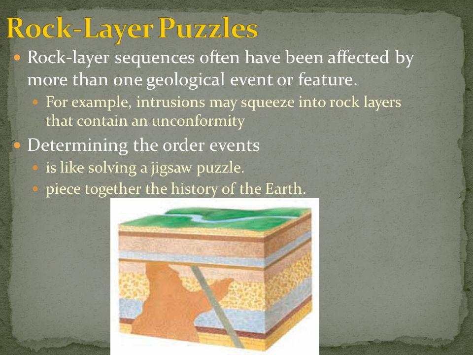 Rock-layer sequences often have been affected by more than one geological event or feature. For example, intrusions may squeeze into rock layers that