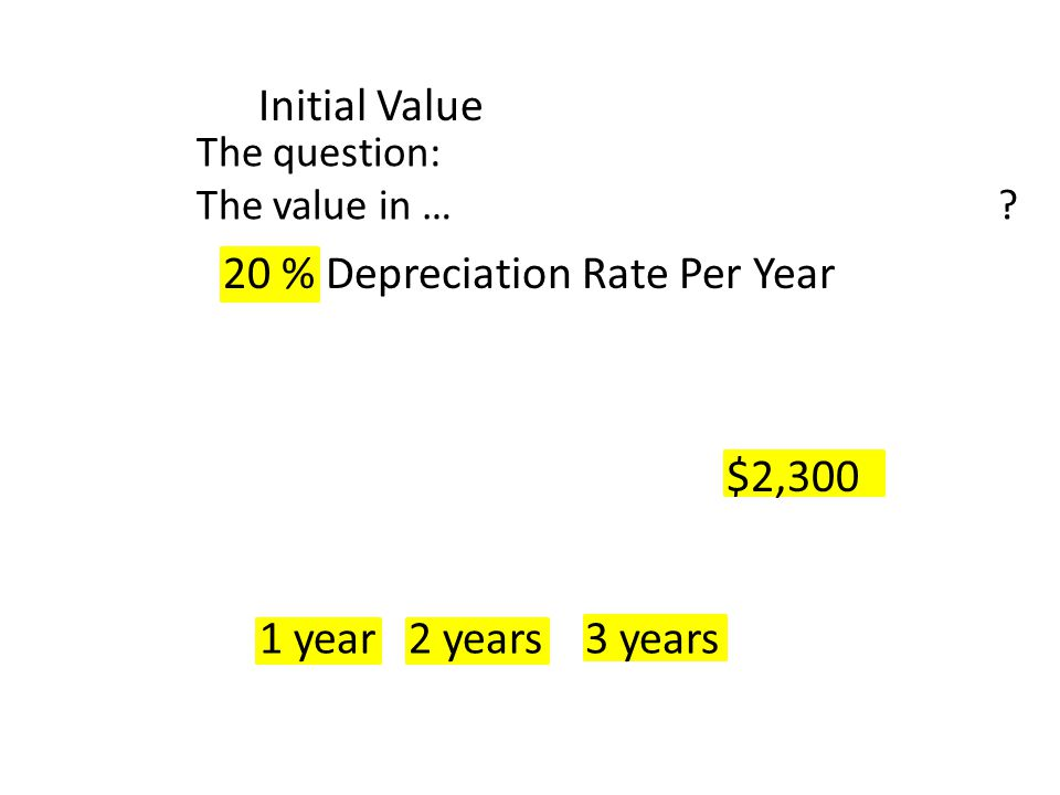 $2,300 1 year2 years3 years Initial Value The question: The value in … ? 20 % Depreciation Rate Per Year
