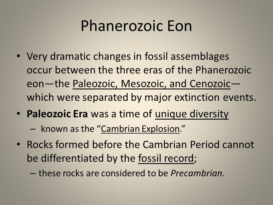 Phanerozoic Eon Very dramatic changes in fossil assemblages occur between the three eras of the Phanerozoic eonthe Paleozoic, Mesozoic, and Cenozoic w