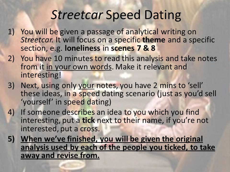 Streetcar Speed Dating 1)You will be given a passage of analytical writing on Streetcar. It will focus on a specific theme and a specific section, e.g