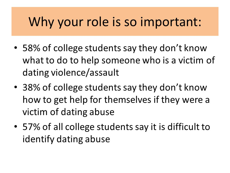 Why your role is so important: 58% of college students say they dont know what to do to help someone who is a victim of dating violence/assault 38% of college students say they dont know how to get help for themselves if they were a victim of dating abuse 57% of all college students say it is difficult to identify dating abuse