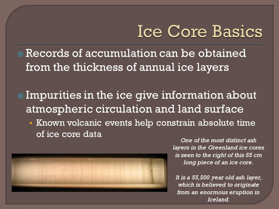 Records of accumulation can be obtained from the thickness of annual ice layers Impurities in the ice give information about atmospheric circulation a