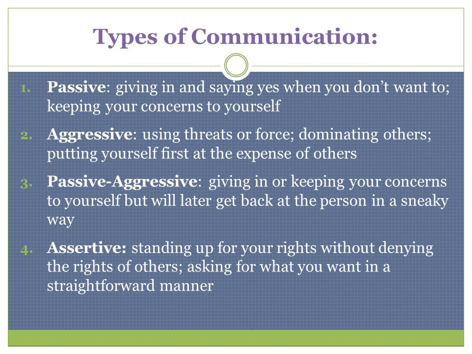 Types of Communication: 1. Passive: giving in and saying yes when you dont want to; keeping your concerns to yourself 2. Aggressive: using threats or