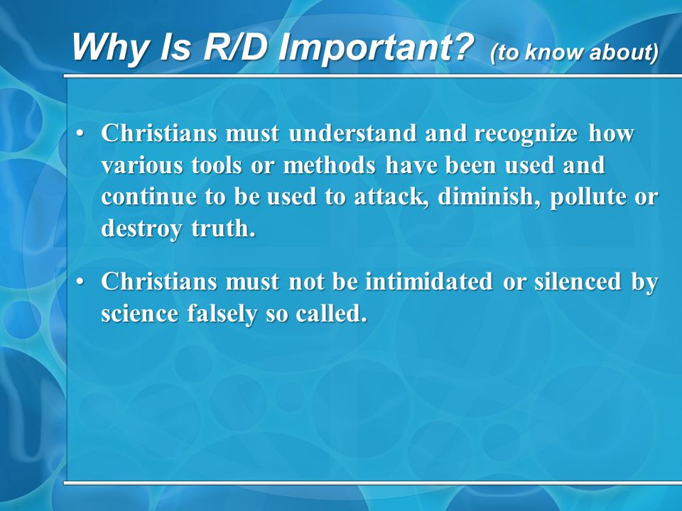 Why Is R/D Important.