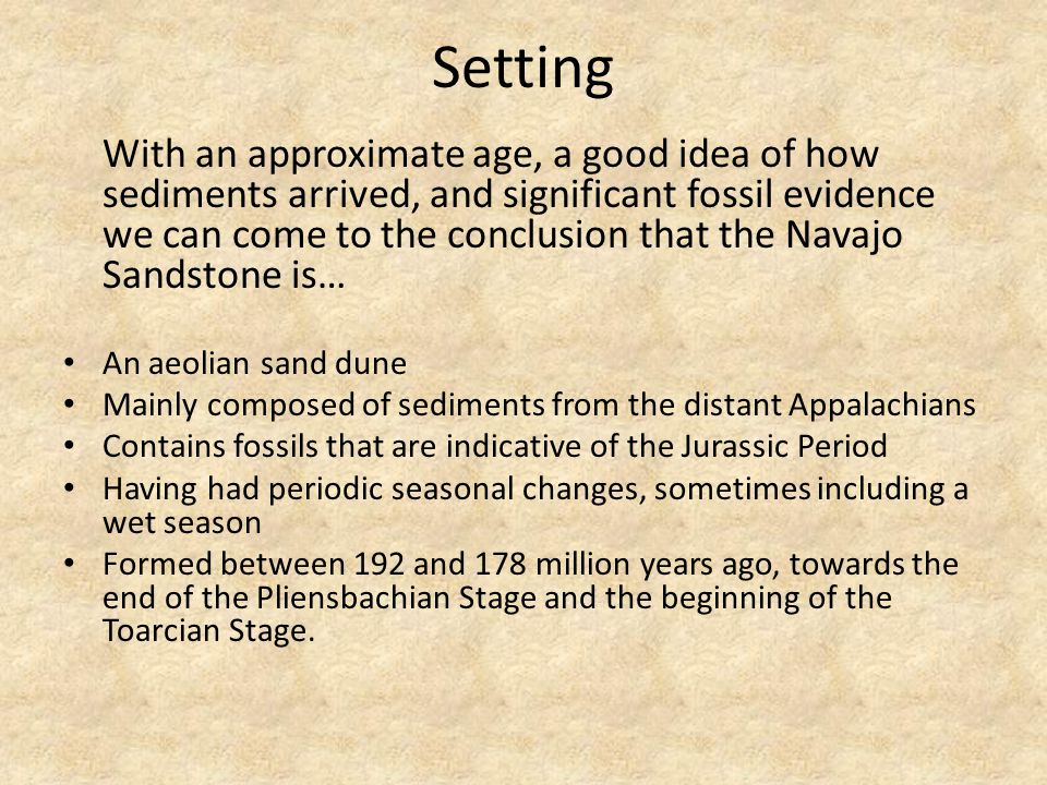 Setting With an approximate age, a good idea of how sediments arrived, and significant fossil evidence we can come to the conclusion that the Navajo Sandstone is… An aeolian sand dune Mainly composed of sediments from the distant Appalachians Contains fossils that are indicative of the Jurassic Period Having had periodic seasonal changes, sometimes including a wet season Formed between 192 and 178 million years ago, towards the end of the Pliensbachian Stage and the beginning of the Toarcian Stage.