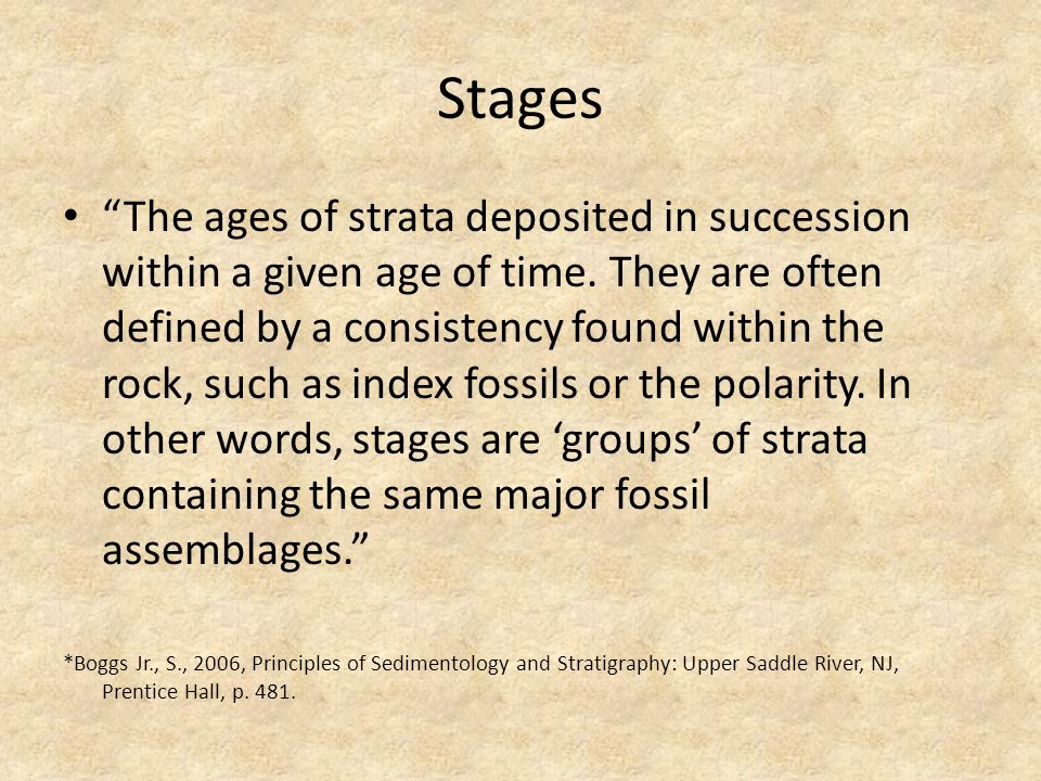 Stages The ages of strata deposited in succession within a given age of time.