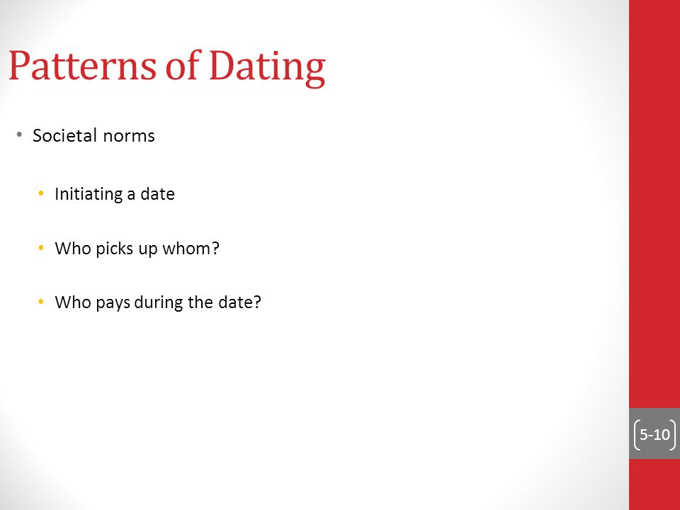 5-10 Patterns of Dating Societal norms Initiating a date Who picks up whom? Who pays during the date?