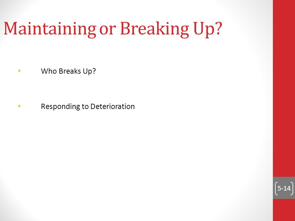 5-14 Maintaining or Breaking Up Who Breaks Up Responding to Deterioration