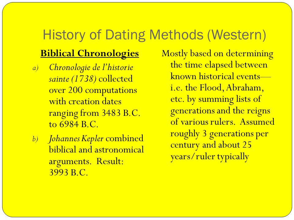 History of Dating Methods (Western) Biblical Chronologies a) Chronologie de lhistorie sainte (1738) collected over 200 computations with creation dates ranging from 3483 B.C.