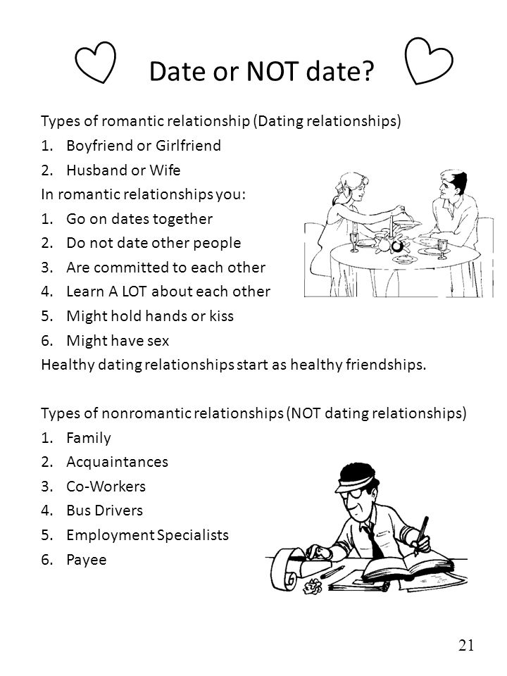 Date or NOT date? Types of romantic relationship (Dating relationships) 1.Boyfriend or Girlfriend 2.Husband or Wife In romantic relationships you: 1.G