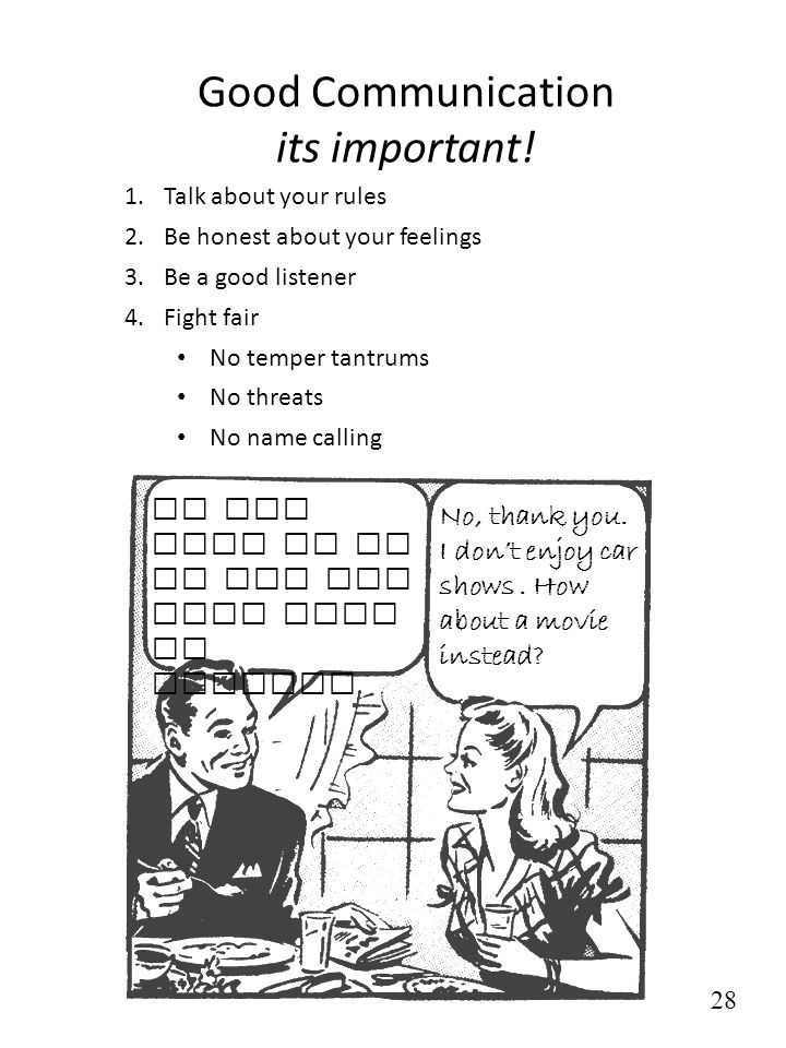 Good Communication its important! 1.Talk about your rules 2.Be honest about your feelings 3.Be a good listener 4.Fight fair No temper tantrums No thre